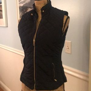 Zara Woman Navy Vest Size Medium w gold highlights